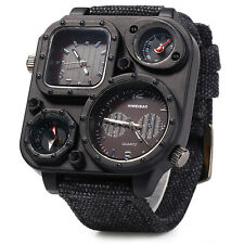 Mens Military Camping Watch - FULL Black - Time/Thermometer - Male Watch