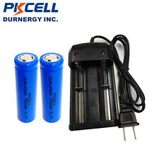 2pcs PKCELL 14500 Rechargeable AA Li-ion Batteries 750mAh 3.7V + Smart Charger