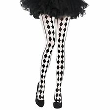 Harlequin Stripe Miss Matched Jester Black White Stockings Tights Fancy Dress UK