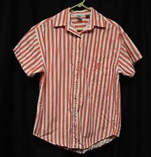 Womens Shirt Size M By Basic Editions Red/White Striped Vtg Short Sleeve Buttons