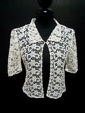 CULT VINTAGE '70 Camicia Donna Pizzo Cotton Lace Woman Shirt Sz.XS - 40