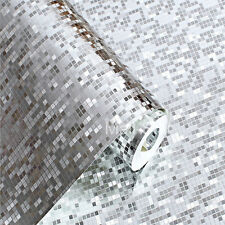 Silver Mosaic Foil Wallpaper KTV Bar Reflective Ceiling Ceiling Front Background