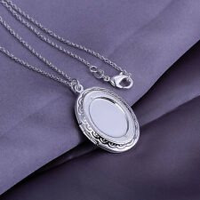 wholesale sterling solid silver chains photo frame pendant necklace XUSP163