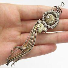 Vintage Sterling Silver Handmade Sunflower Design Large Clothes Decoration