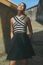 NWT Anthropologie Maeve Crosswise Bandage Flare Dress black & white $158 Size 10