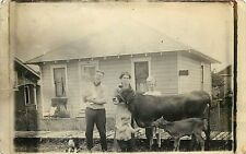1907-1915 RPPC Sweet Real Photo PC; House, Family w Kids, Dog, Jersey Cow & Calf