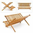2 TIER BAMBOO WOOD FOLDING DISH PLATE DRAINER RACK STAND HOLDER ORGANISER