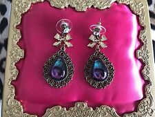 Betsey Johnson Gold Moroccan Morocco Adventure purple Peacock Feather Earrings