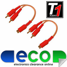 T1 Audio Car Amp CLEAR OFC RCA Phono Amplifier Splitters 2 Male 1 Female (Pair)
