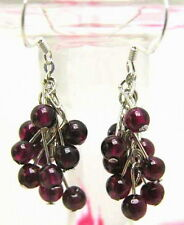 SALE Exquisite! 4mm Round garnet Grape earring with Stering Silver 925 hook-e132