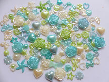 50pcs Pearl Mix Blue Green Ivory Hearts Star Bows Flowers Tear Cabochons Craft