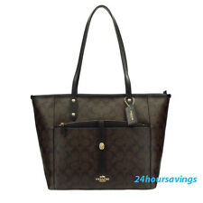 New COACH City Tote with Pouch Signature Shoulder Handbag 54700 in Brown Black
