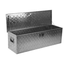 "Aluminum Pickup Truck 49"" Flat Bed Tool Box RV Camp Trailer Storage with Lock"