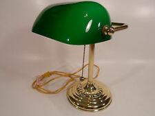 Classic Bankers Office Desk Lamp Piano Light Brass Green Glass, vintage 14""