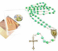 Catholic iridescent green glass heart St. Patrick Irish rosary beads in box