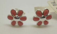 Sterling silver flower stud earrings with pink enamel detailing with '925' stamp