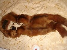 vintage taxidermy 3 x real mink fur stole collar eyes legs 1940s 1930s brown