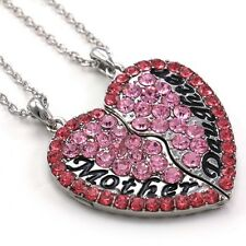 Hot Pink Mother Mom Daughter Mother's Day Best Friends Heart Pendant Necklace a1
