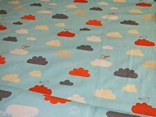 Baumwoll Jersey Birdy Wolken aqua orange taupe Meterware Kinderstoff Jerseystoff