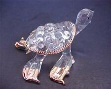Glass TURTLE, TERRAPIN Gold Painted Rimmed Bubble Glass Ornament Sea life Animal