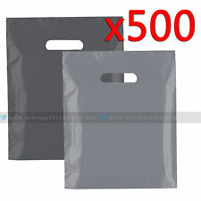 500 Plastic Carrier Bags Strong Patch Handle Shopping Bags Grey Medium FOR E-CIG