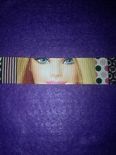 Brand New 1.5 Metres Pretty Pink 'Barbie' Design Grosgrain Ribbon 25mm