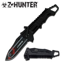 ZOMBIE SPRING ASSISTED TACTICAL CHAINSAW POCKET  KNIFE WITH ALUM HANDLE - BK/RD