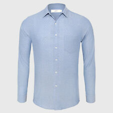Dot Printed Patterns Shirt Men Slim Fit Cotton Linen Blend Formal Shirt Blue S