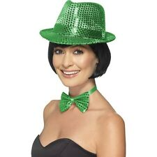 Women's Green St Patrick's Day Sequin Trilby Hat & Bow Fancy Dress Hen Night Do