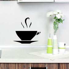 Cocina Pared té café taza pegatina de vinilo calcomanía sólido Negro Nuevo 2014