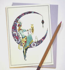 The Dreamer birthday card, henna style, UK artist featuring owl and cat, blank.