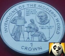 1995 RARE ISLE OF MAN 1 ONE CROWN COIN POSITIVE NEGATIVE PROCESS FOX TALBOT