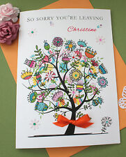 "Handmade Personalised Card New Home - Sorry You're Leaving Large ""Flower Tree"""