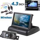 """Wireless Car Rear View Backup CMOS Camera Night Vision 4.3"""" TFT LCD Monitor Kit"""