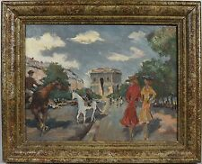 Vintage Framed Oil on Canvas Impressionistic Paris Street Scene by Jose Stern