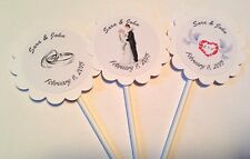 Elegant Wedding Customized Cupcake Toppers/ Picks 12 count
