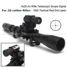Updated 4x20 Tactical Hunting Air Rifle Optics Scope Red Laser Sight 11mm Mounts