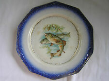Antique Limoges Fish Plate, Pentagonal Blue & Gold