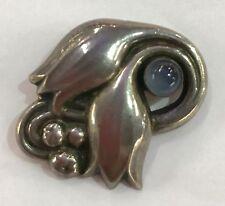Vintage Georg Jensen Sterling Silver Tulip Pin Brooch Moonstone 100A Denmark