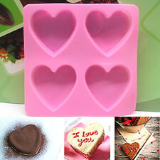 Cute Heart Silicone Fondant Mold Cake Decor Chocolate Baking Soap Ice Mould Tool