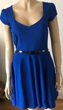 BOOHOO Electric Blue Cap Sleeve V Neck Belted Party Dress Size 12