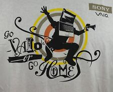 Sony Vaio Or Go Home Intel Centrino White Graphic T Shirt 100% Cotton L Large