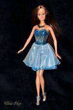 PRETTY CLASSIC HAZEL EYES BRUNETTE TERESA BARBIE DOLL IN BLUE GLITTERED DRESS