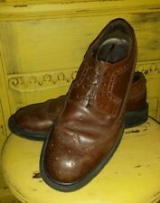 VINTAGE PRONTO UOMO FIRENZE ITALY BROWN LEATHER WINGTIPS OXFORDS SHOES 10.5 M