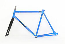 56CM BLUE FIXED GEAR BIKE FRAME AND FORK - ROAD BIKE STEEL FRAME  FIXIE PROJECT