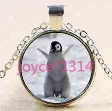 Vintage Penguin Cabochon Tibetan silver Glass Chain Pendant Necklace #2514