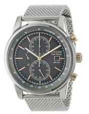 NWT Mens Citizen CA0336-52H Eco-Drive Chronograph Mesh Stainless Steel Watch