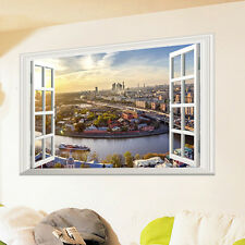 Large City Wall Sticker 3D Window View Removable Decal Mural Home Room Art Decor