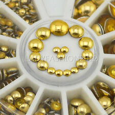 Gold Color Mixed 4 Size Round Sphere Flat Back Nail Art Gems Studs Decals Wheel