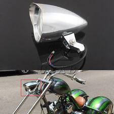 "4.7"" Chrome Tri-Bar Visor Bullet Headlight Lamp For Harley Bobber Chopper 10mm"